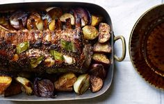 Cider-Brined Pork Roast with Potatoes and Onions   YES PLEASE.