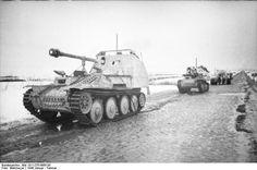 """gruene-teufel: """"Two whitewashed Marder III Ausf. M tank destroyers and a Tiger in Russia, early 1944 """" Luftwaffe, Mg34, Tank Warfare, Panzer Ii, Self Propelled Artillery, Tank Destroyer, Armored Fighting Vehicle, Military Pictures, Ww2 Tanks"""