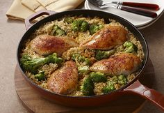 The 15 Minute Chicken & Rice Dinner Great for Cold Weather Days [Recipe] Chicken Rice Bake, Easy Chicken Pot Pie, Cream Of Chicken Soup, Chicken Recipes, Skillet Chicken, Cheesy Chicken, Chicken Meals, Rice Recipes For Dinner, Comfort Food