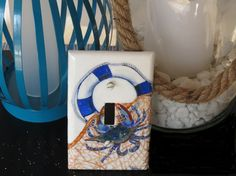 Buy Blue Crab Lightswitch Plate / Hand Painted / Nautical Seascape Decor by tdavispainthouse. Explore more products on http://tdavispainthouse.etsy.com