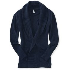 Aeropostale Solid Shawl Cardigan (£18) ❤ liked on Polyvore featuring tops, cardigans, sweaters, outerwear, classic navy, aéropostale, slouchy cardigan, blue cardigan, cardigan top and navy blue cardigan