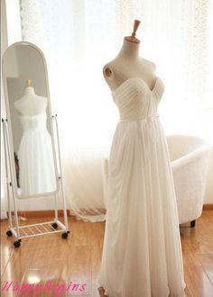 Long ivory reception dress/ bridesmaid dress by HappyBegins, $109.00