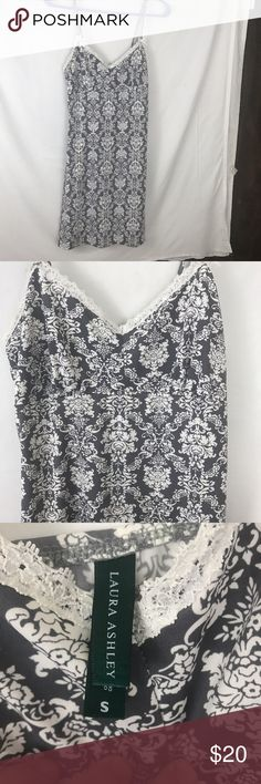 """Laura Ashley Woman's Nightgown Laura Ashley Nightgown  Thin Straps Very Light Weight  Size: Small Fabric: 94% Polyester, 6% Spandex  Shoulder Span: 14"""" Arm Pit to Arm Pit:16""""  Length: 35""""  Excellent Condition From a Smoke Free Home Thanks For Shopping! Laura Ashley Intimates & Sleepwear"""