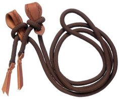 """(Product review for Royal King Slobber Strap Roping Rein).   - Royal King Slobber Strap Roping Rein 5/8"""" x 10' cord roping rein with leather slobber straps accented with barbwire tooling."""