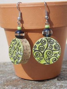 Love these! Spring Green Wine Cork Earrings with Black by CreativeInstincts01, $8.00 by lea