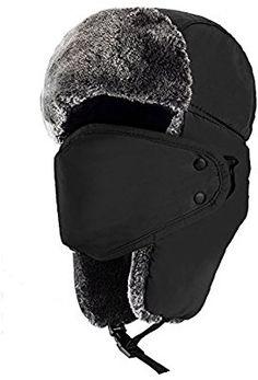Amazon.com : mysuntown Unisex Winter Trooper Hat Hunting Hat Ushanka Ear Flap Chin Strap and Windproof Mask (Black) : Sports & Outdoors