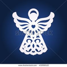 Laser-cut paper Christmas angel decoration vector design. Greeting Card for X-mas for wood carving, paper cutting and holiday decorations. Die cut Easter Angel.