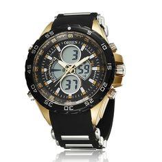 Sale 13% (9.99$) - OHSEN AD2816 Sport Day Alarm Dual Display Outdoor Men Wrist Watch