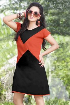 Graceful Orange Red, Black Polyster Stylish Kurti