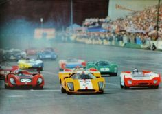(2) Jo Bonnier - Lola T70 Mk.3B GT Chevrolet - Joakim Bonnier/Scuderia Filipinetti - (27) Ignazio Giunti - Alfa Romeo T33/3 - Autodelta - (26) Vic Elford - Porsche 908/02 - Tony Dean - (8) David Piper - Ferrari 412 P- David Piper Racing - (1) Richard Attwood - Lola T70 Mk.3B GT Chevrolet - David Piper Racing - 1969 Norisring 200 Miles - Non Championship Race