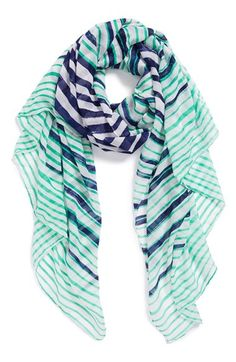Mint & blue striped scarf