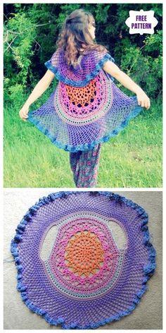 Crochet Lady's Circle Mandala Vest Free Crochet Patterns - Babykleidung Crochet Circle Vest, Crochet Vest Pattern, Crochet Mandala Pattern, Crochet Circles, Knitting Patterns, Gilet Crochet, Crochet Jacket, Crochet Vests, Crochet Crafts