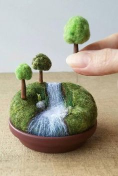 Playscape for Grown-ups Miniature Woodland Landscape, Mini Trees, Outdoors Nature Gift River Stream Waterfall, Pincushion Pin Cushion Needle Felted Animals, Felt Animals, Needle Felting, Felt Crafts, Diy And Crafts, Felt Tree, Pin Cushions, Beautiful Gardens, Sell On Etsy