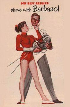 Barbasol Shaving Cream Pin-Up Foil Fencing 1949 - Mad Men Art: The 1891-1970 Vintage Advertisement Art Collection