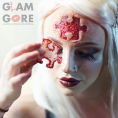 Saw inspired puzzle piece special effects makeup. Skin made with gelatin, puzzle piece gash made with 3rd degree. For more makeup looks and tutorials: www.instagram.com/Mykie_ www.youtube.com/GlamAndGoreMakeup