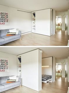 "Flexible Space, or movable walls, are changing the world of design. For those who live in very small spaces, the flexible walls offer an ideal solution for storage as well as optimal space utilization. Now, IKEA has introduced its own version of the ""wall Ikea Small Spaces, Tiny Spaces, Small Space Living, Small Rooms, Small Apartments, Ikea Small Apartment, Ikea Studio Apartment, Living Spaces, Small Space Bedroom"