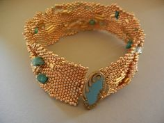 Free Form Peyote Stitch Cuff Bracelet (Gold and Turquoise)