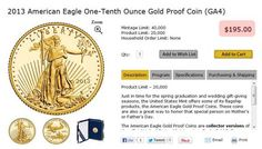 US Mint Resumes Selling One-Tenth Ounce Gold Coins... At A 40% Premium To Spot | Zero Hedge