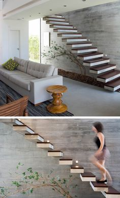 Best Modern White Oak And Steel Staircase Luxe Halls 400 x 300