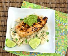 Margarita Chicken with Cilantro-Lime Rice. Grilled chicken with a flavorful tequila-lime marinade, a dab of creamy guacamole and served with a side of rice. Healthy Dinner Recipes, Mexican Food Recipes, Real Food Recipes, Chicken Recipes, Cooking Recipes, Turkey Recipes, Healthy Meals, Yummy Recipes, Lime Chicken