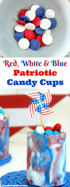 These Red, White & Blue Patriotic Candy Cups are so much fun to make and the perfect treat for Fourth Of July, Memorial Day and all your other summer get-togethers!