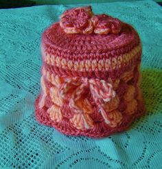 Crocheted Tissue Box Cozy and Toilet Paper Cozy in berries, peaches or custom colors//household deco