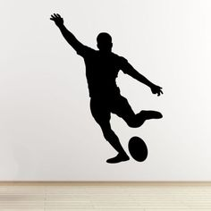 Rugby-Player-Wall-Art-Sticker-Kicking-Player-Outline-Silhouette-Vinyl-Decal
