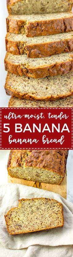 Five banana banana bread | Moist, tender banana bread packed with the dense flavor of 5 bananas in one loaf. An instant family favorite! via @nourishandfete