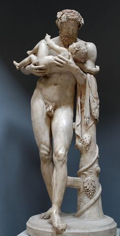 Silenus with infant Dionysus Bacchus, Roman statue marble copy of Greek original from school of Lysippus, 2nd century A.D. original 4th B.C. Museo Chiaramonti, Vatican Museums, Rome