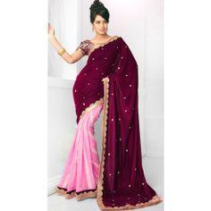 Glamorous Maroon And Pink Velvet Wedding Saree #Saree #Wedding #Clothing