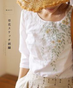 【楽天市場】【再入荷♪6月14日12時&22時より】「mori」草花スケッチ刺繍トップス:cawaii