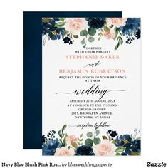 Navy Blue Blush Pink Rose Boho Wedding Invitation ****FTC Disclosure: Some links on my page may be affiliate links, so I may earn a commission for purchases made through my Pins. Country Wedding Invitations, Beautiful Wedding Invitations, Wedding Invitation Wording, Floral Invitation, Event Invitations, Wedding Invitations Online, Invitation Paper, Invitation Templates, Zazzle Invitations