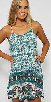 Elephant Boho Print Mini Dress. Casual Summer DressesSummer Dresses For WomenBeach  DressesRetro FloralDress RobesPlus Size ... 72764356385f