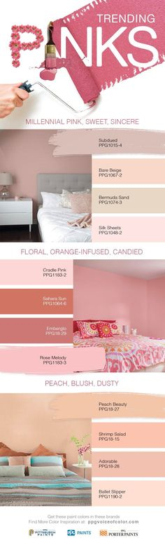 2017 Trending Pink Colors + Millennial Pink Paint Colors | Sweet, sincere and nostalgic all wrapped into one, Millennial pink has risen to popularity. This soft hue speaks to a generation that sees the hue as increasingly gender-neutral, not limited to exclusively feminine settings. Falling somewhere in between a beigey blush & a dusty pink, Millennial pink pairs almost universally well. Don't feel limited to soft looks with this rose-inspired hue.