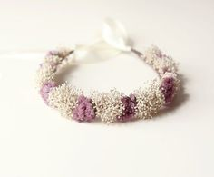 wedding floral head crowns in purple | Purple and Ivory bridal crown, Dried flower head piece, Wedding crown ...
