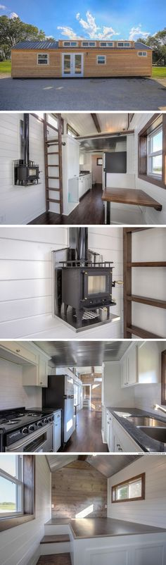 A 380 sq ft cabin made from a repurposed shipping container. The home is currently available for sale from Custom Container Living.