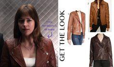 Fifty Shades of Grey: Anastasia Steele's (Dakota Johnson) brown/tan moto leather jacket with silver zipper