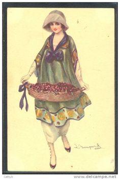 JS84 a/s BOMPARD ART DECO FASHION LADY BASKET of CHERRIES