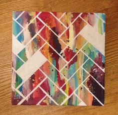 Make a herringbone pattern with masking tape. | Community Post: 22 Incredibly Easy DIY Ideas For Creating Your Own Abstract Art