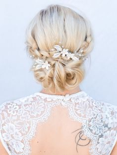 """Lindsay"" Enchanting Floral Rhinestone and Crystal Set of Bridal Hair Pin and Comb"