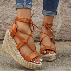 Descriptions: Upper Material: PU Occasion: Daily,Holiday,Casual Toe Shape: Open Toe Closure Type: Lace Up Heel Height: High Heel Type: Wedge Heel Season: Sprin Lace Up Wedge Sandals, Toe Ring Sandals, Leopard Sandals, Peep Toe Flats, Ankle Strap Flats, Lace Up Wedges, Open Toe Sandals, Brown Sandals, Lace Up Heels