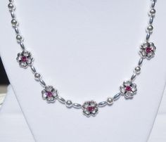 Silver plated bead necklace with Swarovski fuchsia spacers by ParkhillDesigns on Etsy