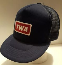 Vintage TWA Trans World Airlines Patch Snapback Trucker Hat Navy Blue Mesh  Cap  McDowell   64056f844896
