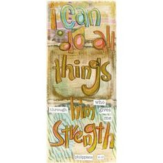 """Enliven wall space with this Multi Color I Can Do All Things Through Him Canvas. The canvas wall art features vintage style news prints with zebra and flower designs in the background. Gold glitter highlights the handwritten Philippians 4:13 verse.    Dimensions:      Width: 12""""    Height: 28""""      Hardware:      1 - Sawtooth hanger      Full Text: I can do all things through him who gives me strength. -Philippians 4:13"""
