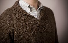 ...'cause every girl's crazy 'bout a sharp-dressed man...Terry's Pullover by Carol Feller, as knit by mishi2X ... a variation with different yarn and I do like this.....
