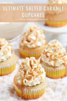 Ultimate Salted Caramel Cupcakes with a FREE class on how to make the Swiss Meringue Buttercream Frosting! Twix Cupcakes, Cupcakes Fondant, Salted Caramel Cupcakes, Cupcake Cakes, Cool Cupcakes, Cupcake Emoji, Caramel Cakes, Disney Cupcakes, Delicious Cupcakes