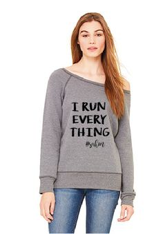 I Run Everything  SAHM wide neck sweatshirt by humormetees on Etsy