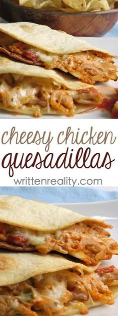 These Cheesy Chicken Quesadillas are out of this world delicious! - Written Reality - - Cheesy Chicken Quesadillas : This cheesy chicken quesadillas recipe is creamy and super easy to make with one extra special delicious ingredient included. Mexican Food Recipes, New Recipes, Dinner Recipes, Cooking Recipes, Healthy Recipes, Shrimp Recipes, Tofu Recipes, Dessert Recipes, Gastronomia
