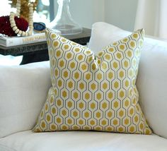 Another good option  READY TO SHIP - Thom Filicia Euclid  pillow cover in Citron. via Etsy.