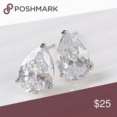 Pear be'a Lady [Newly Restocked] White Gold Pear Shaped Duos! So popular that I had to bring it back with a matching necklace (De Pear Laddiette). Total weight of these WG Plated AAA Cubic Zirconia is 3.7g.   .Ask About Custom Bundles.  .Poshmark Rules Only. No Trades.  .Additional Pics Available as Time Allows. goodchic  Jewelry Earrings